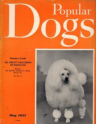 Popular Dogs Magazine May 1955, Miniature Poodle Cover, Pug, Westminster