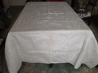 Antique White Damask Linen Large Tablecloth Lillies Lillypads  Iris Floral