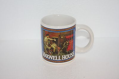 Vtg Maxwell House Coffee Cup 1950's Graphics Fire Station Crew & Man Shovel Snow