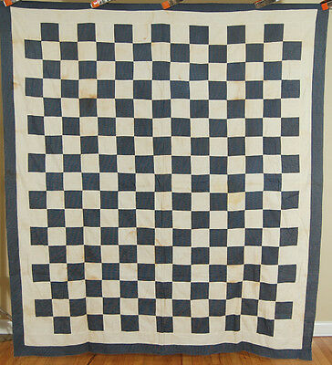 1880's Indigo Blue & White Checkerboard One Patch Antique Patchwork Quilt Top!
