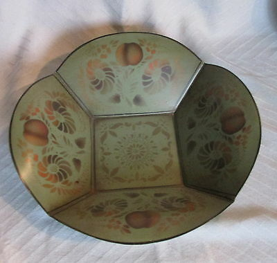 Vintage Hand Painted Stencil Fruit&Flowers Gold on Green Metal Toleware Bowl