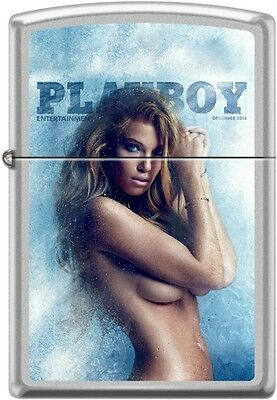 Zippo Playboy December 2014 Cover Satin Chrome Windproof Lighter NEW RARE