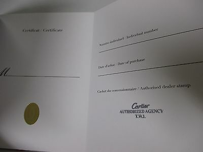 NOS Cartier Open/Blank Watch Certificate & Guarantee Book with Dealer Stamp Only