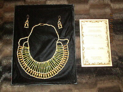 Ancient Egyptian Necklace And Earrings; Circa 600 B.c., With Coa