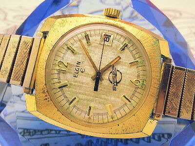 RARE ELGIN (SWISS SONIC) ELECTRONIC 1970s SPECIAL ETCHED DIAL VINTAGE MENS WATCH