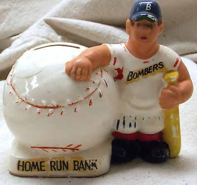 Vintage Pot Bellied Ceramic Baseball Bombers Home Run Bank - Rare