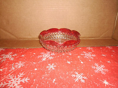 Vintage Depression/Indiana Glass Candy Dish?Bowl Ruffled Edge Clear/Red #6