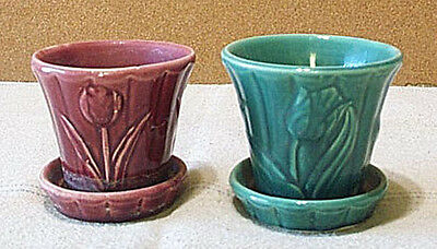 2 Vintage Shawnee Pottery Flower Pots W/attached Saucers TULIP GREEN & MAROON