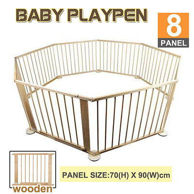 Baby Kids Toddler Deluxe Wood Wooden Playpen Divider Safety Gate 8 Panel New
