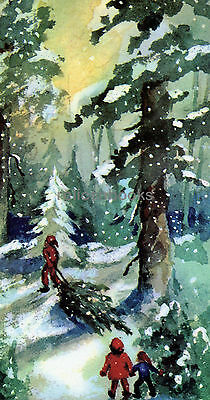 #706 Hauling the Tree Home, Vintage Christmas Card-Greeting