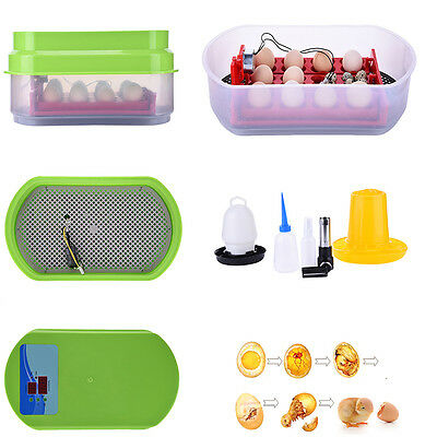 12 Eggs Incubator Auto-turning Poultry Hatcher For Chicken Duck Goose 90W