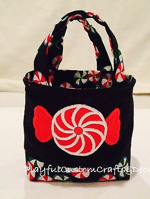 Handmade Candy Theme Teeny Tiny Tote With Red Embroidered  Peppermint