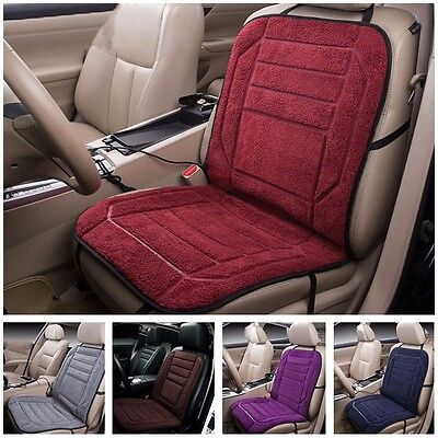 Wine red 12V Flannel Heated Car Front Seat Cushion Quick Heating Warmer 2-Level