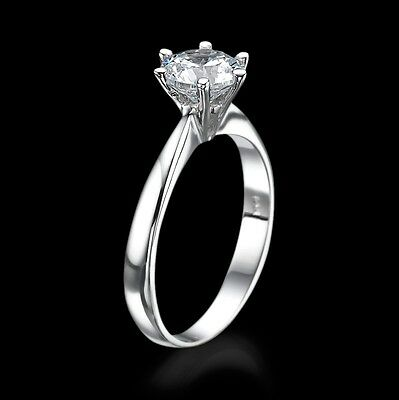 1 2/3 CT Solitaire Diamond Engagement Ring Enhanced Round F/SI2 18K White Gold
