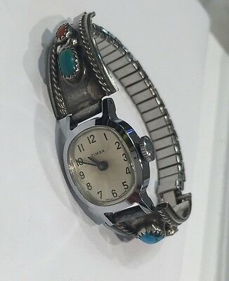 Vtg Native American Sterling Silver Bracelet  w/ Turquoise Coral Timex Watch