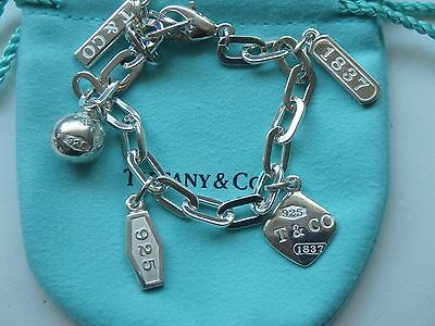Tiffany & Co. 1837 Bracelet T&Co. Balls Tags Charms 925 Sterling Silver