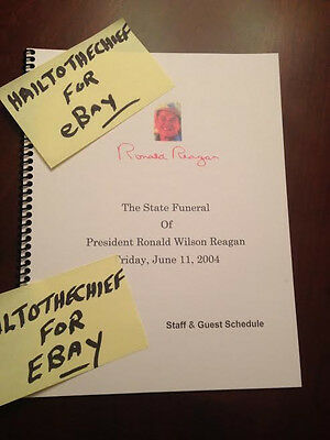 Ronald Reagan Funeral Official Staff -Guest Schedule (Secret Service Issue) RARE