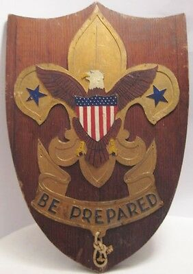 Old Unusual Wooden Carved Advertising Boyscout Sign - Folk Art / Americana