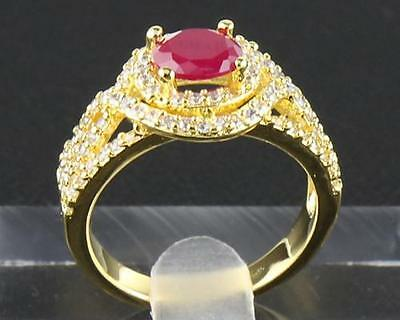 1.45ct Brilliant Cut  Natural Ruby  14kt Yellow Gold Rings Size8