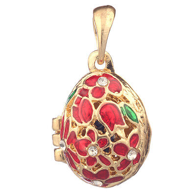 Faberge Egg Pendant / Charm with Flowers 2.1 cm red #2-1020-05