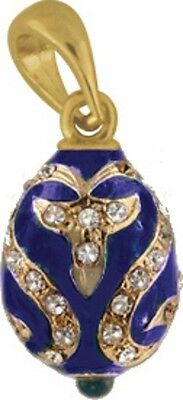 Faberge Egg Pendant / Charm with crystals 2.4 cm blue #5801-11