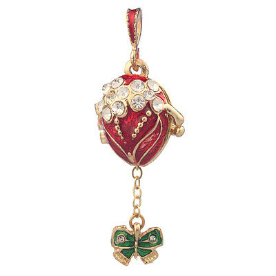Faberge Egg Pendant / Charm with Butterfly 2 cm red #0679-05