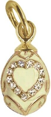 Faberge Egg Pendant / Charm with Heart 1.6 cm cream #0854-02