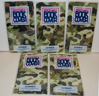 5 Stretchable Camouflage Fabric Book Covers Jumbo Size School College Textbooks