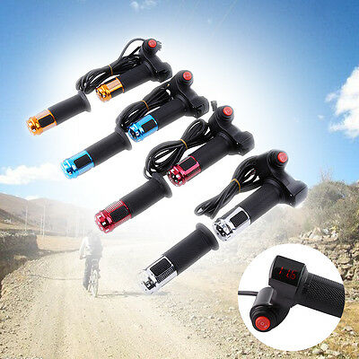 Twist Throttle Grips 3 Speed Switch w/ LED Display Handlebars for EBike Tricycle