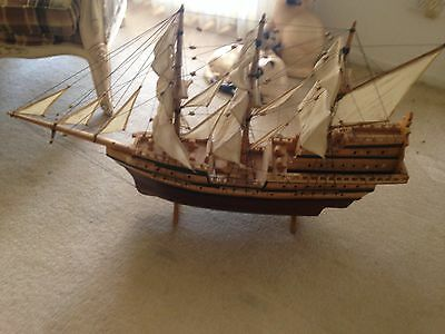 LARGE WOODEN MODEL SHIP SAILING GALLEON BOAT.  Approx 60cm long
