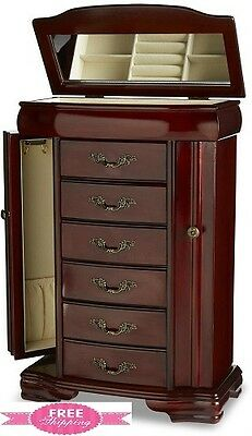 Jewelry Armoire Box Chest Stand Storage Organizer Cabinet Necklace Ring Walnut