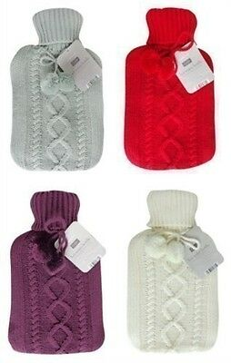 Country Club Cosy Large Hot Water Bottle With Chunky Knitted Cover