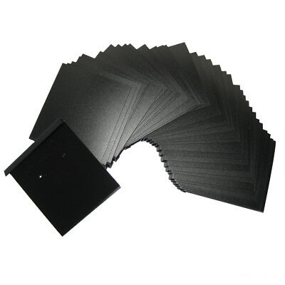 """100 Black PVC Earings Ear Studs Jewelry Display Hanging Cards Tags 2"""" x 2.2"""""""