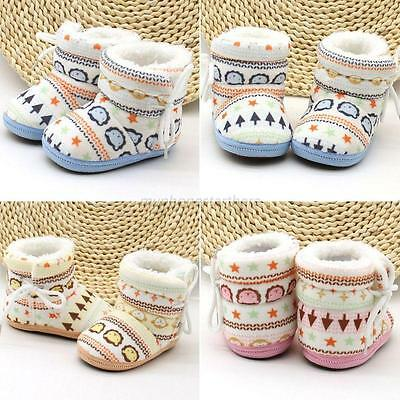Lovely Baby Boys Girls Winter Warm Snow Boots Infant Kid Soft Slipper Crib Shoes