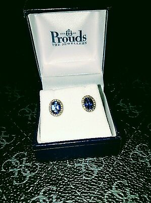 10 ct Y Gold Blue Sapphire and Diamond Earring Studs with Valuation Certificate