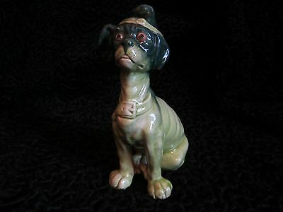 Antique 1900 1920 Mosanic Galle Type French Majolica Comical Dog in Hat Figure