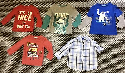 BABY BOYS GREAT BUNDLE OF 4 x L/S TOPS T SHIRTS & 1 SHIRT AGE 12-18 MONTHS