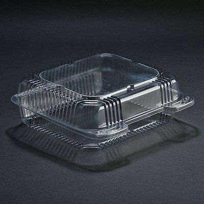 SafePro 8x8x3 Clear Hinged Lid Plastic Container, 100-Piece Pack