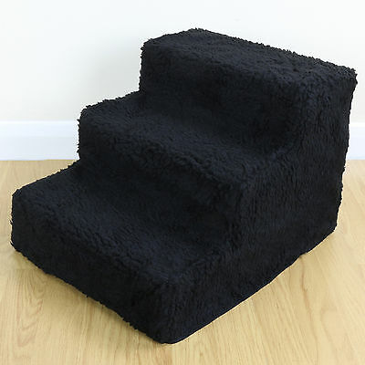 Dog/Puppy/Cat Folding 3 Step Pet Stairs Car/Sofa/Bed Washable Soft Black Cover