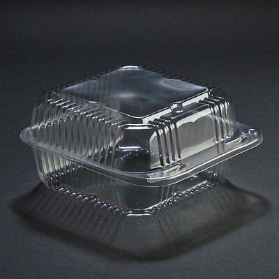 SafePro 6x6x3 Clear Hinged Lid Plastic Food Container, 50-Piece Pack