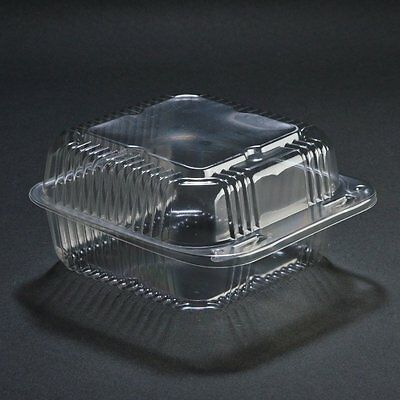 SafePro 6x6x3 Clear Hinged Lid Plastic Food Container, 100-Piece Pack