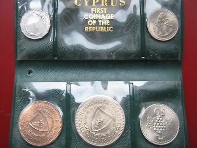 Cyprus 1963 UNC 5 coin set 1 5 25 50 100 Mils by Royal Mint in original sleeve