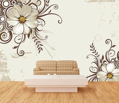 3D White Flower 920 Wall Murals Wallpaper Decal Decor Home Kids Nursery Mural