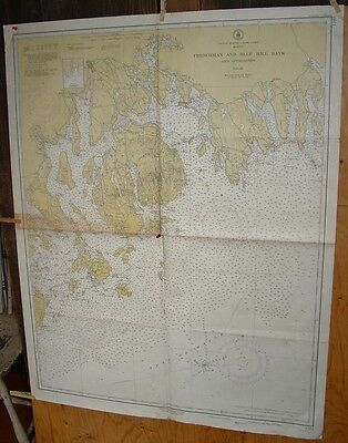 Old Working 1951 USC & GS Nautical Chart MDI Bar Harbor Blue Hill Mt Desert Bays