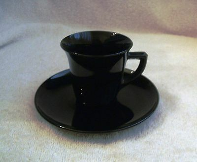 Cambridge Ebony Black Amethyst Demitasse After Dinner Cup and Saucer