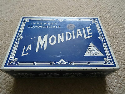 Vintage French Printing Set In A Tin  La Mondiale Imprimerie Commerciale