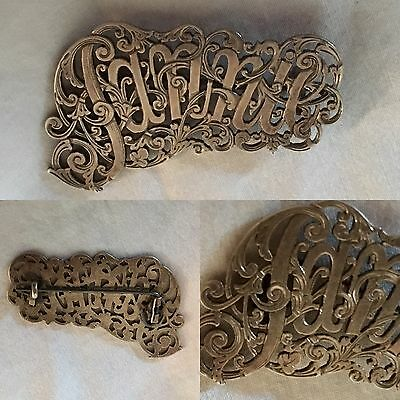 Antique Silver Name Brooch Fannie Victorian Engraved And Filagree Design