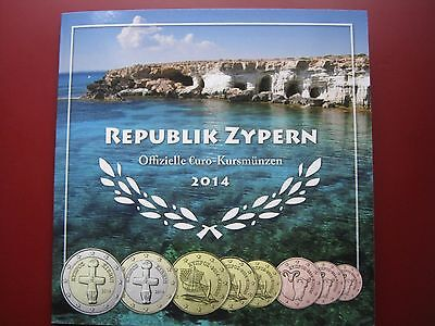 Cyprus Zypern 2014 8 Coin Set 1 Cent - 2 Euro Complete Folder UNC German Edition
