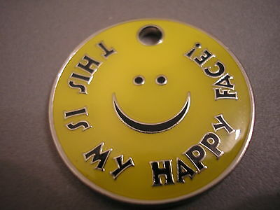 Personalised Engraved Comical Pet Id Tag - Happy Face - Free P&p & Engraving