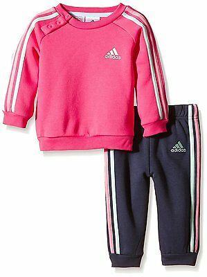 Size Cribs 12/18 Months - Adidas 3 Multi Stripes Jog Cribs Full Tracksuit - Pink